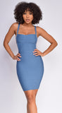 Alameda Blue Square Neck Bandage Dress