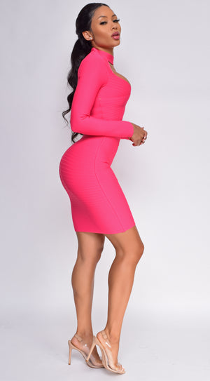 Shallon Pink Long Sleeve High Neck Bandage Dress