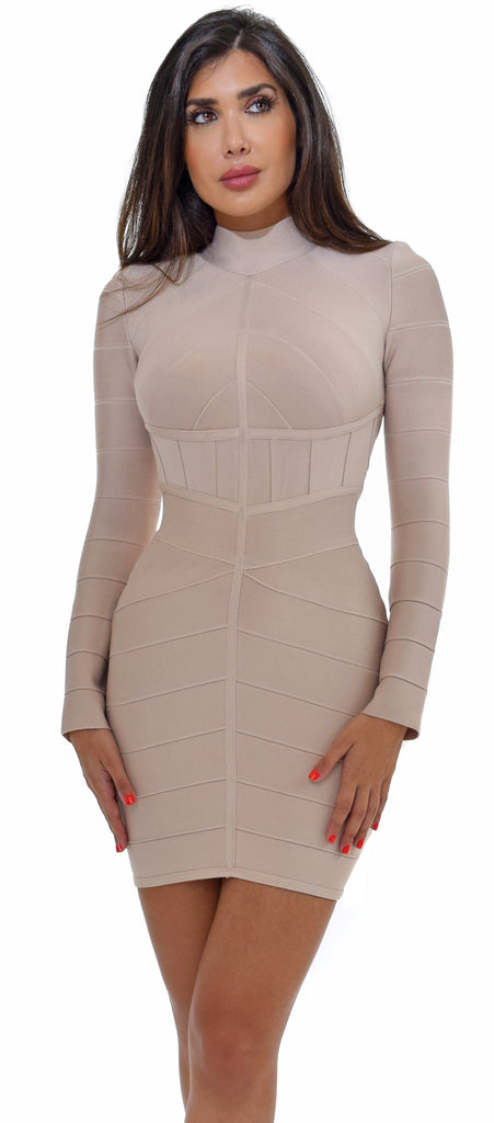 Jayma Beige High Neckline Bandage Dress
