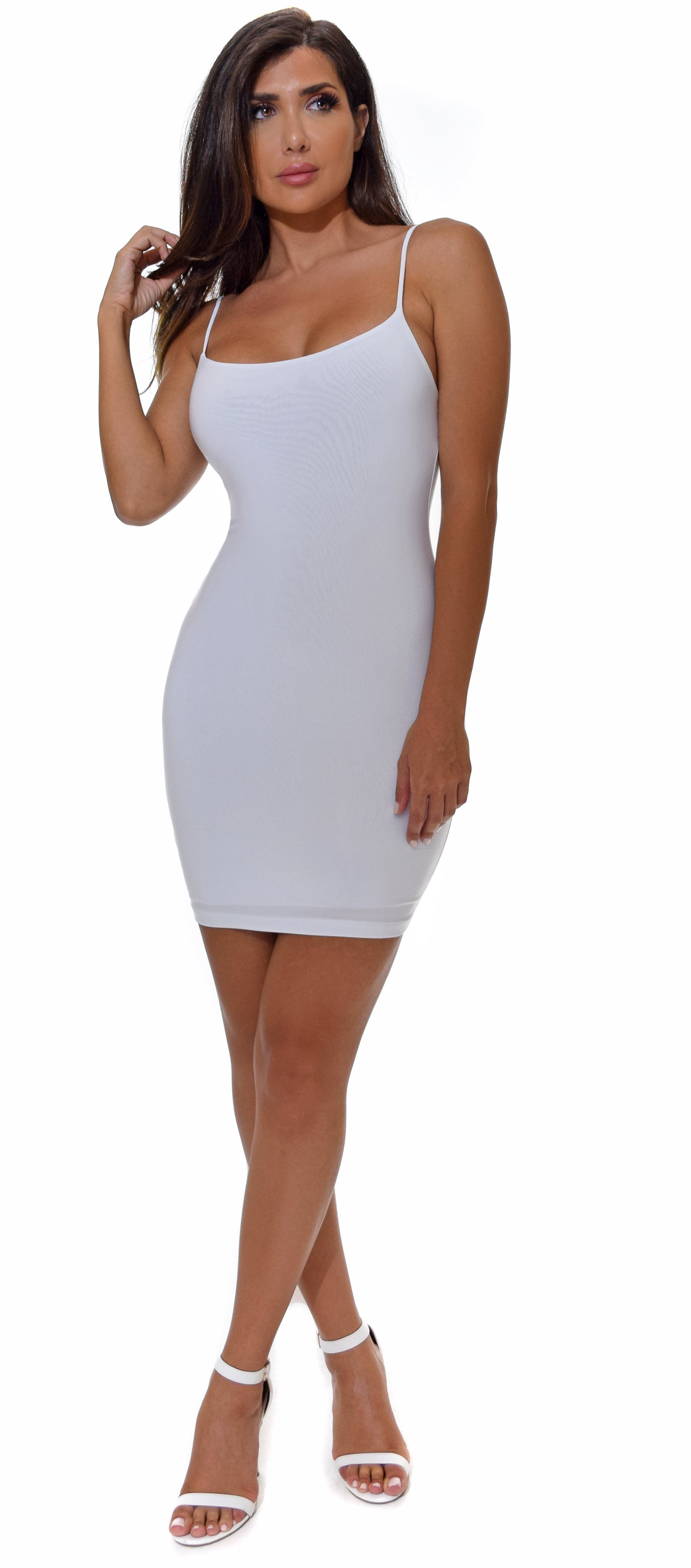 July White Spaghetti Strap Mini Dress