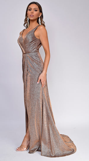 Aliza Copper Sparkle Wrap Belted Gown