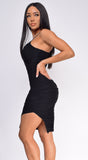 Felicity Black Ruched Slit Dress