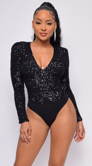 All Shine Black Long Sleeve Sequin Bodysuit