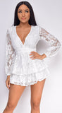 Shelby White V Neck Lace Romper