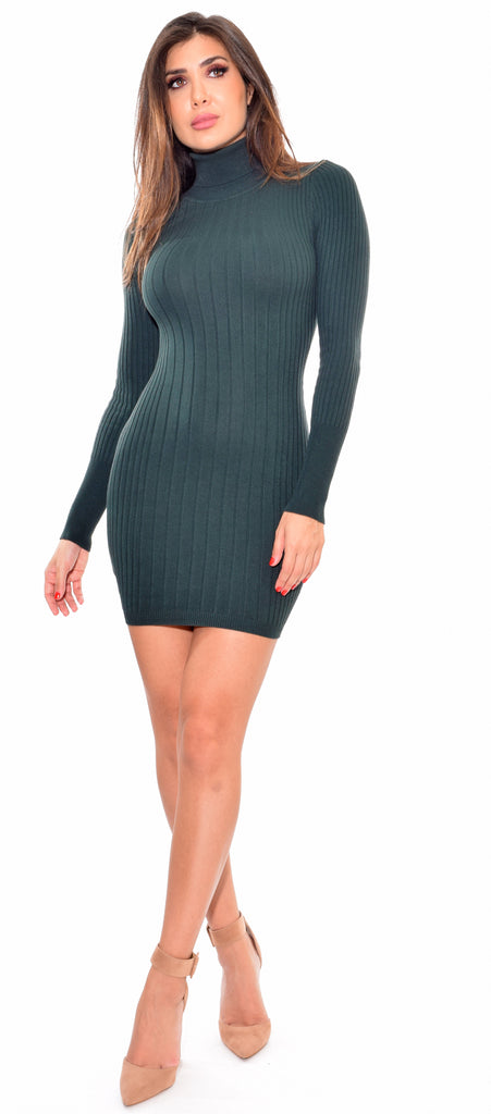 Toria Hunter Green Mock Neck Long Sleeve Ribbed Dress