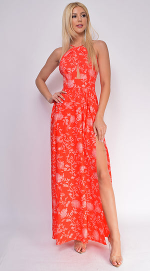 Kefalonia Red Halter Cut Out Floral Double Slit Maxi Dress