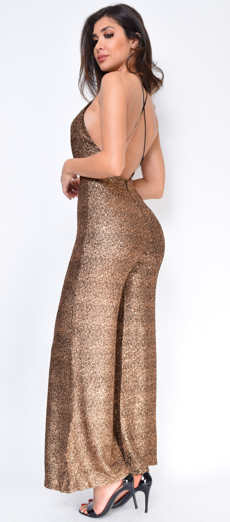 Kamala Gold Black Glitter Sequin Wide Leg Jumpsuit