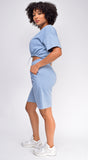 Nia Blue Crop Drawstring Top And Short Set
