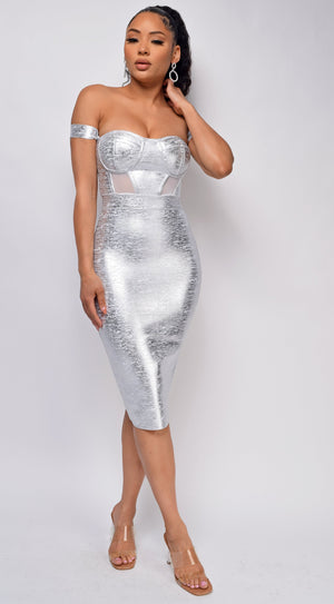 You Could Never Silver Metallic Off Shoulder Bandage Dress