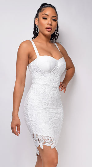 Secret Love White Bandage Lace Bustier Dress