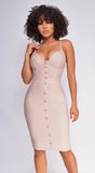 Nelinha Nude Gold Button Bandage Dress