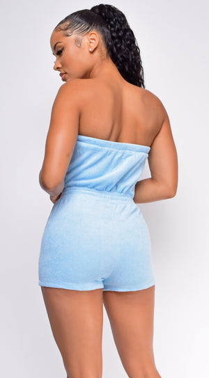 Atara Blue Terry Tube Romper