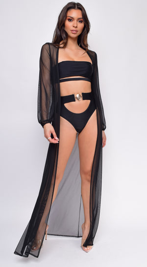 Bequia Black Mesh Long Sleeves Cover Up