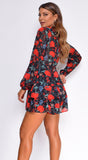 Bellarose Black Red Floral Print Romper