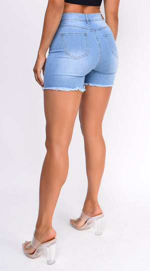 Leva Blue Distressed High Waist Denim Shorts