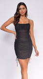 Jillian Black Ruched Dress