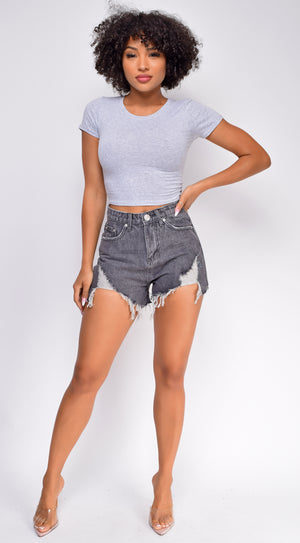 Let's Roll Black Frayed High Waist Denim Shorts