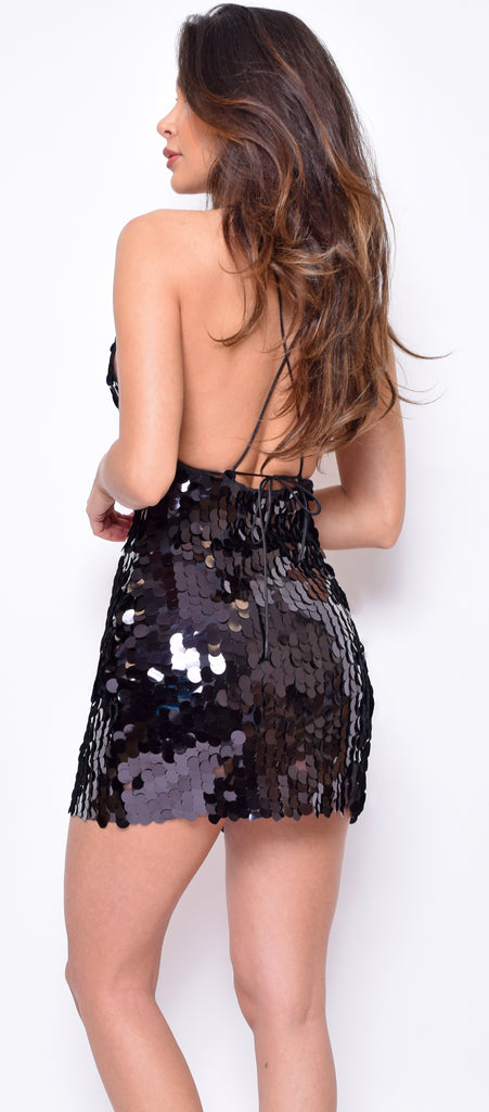 Kat Black Paillette Sequin Dress
