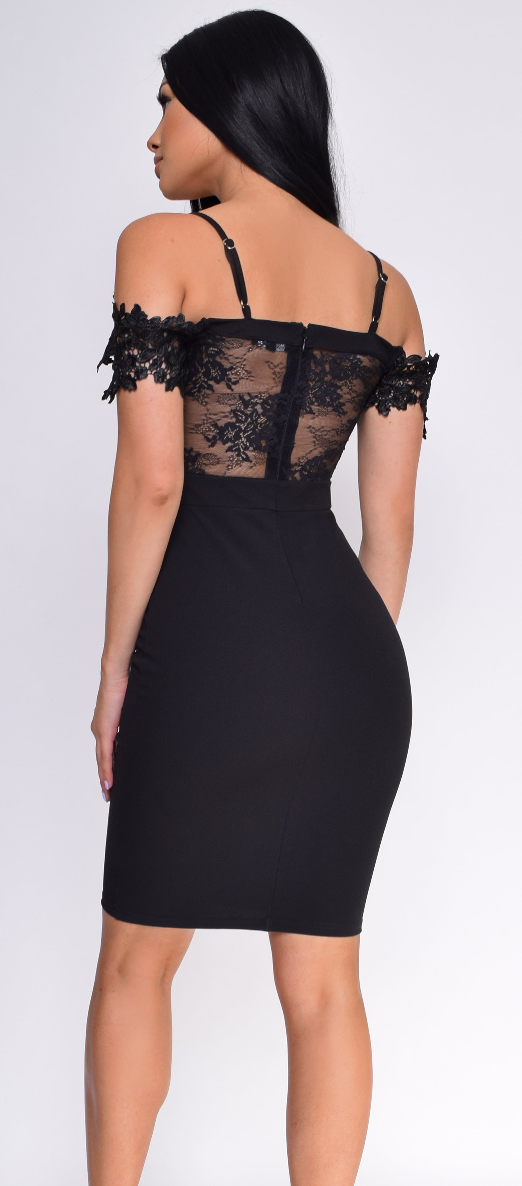 Elvina Black Floral Lace Plunge Off Shoulder Dress - Emprada