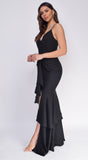 Margarita Black Ruffle Waist Tie Maxi Dress