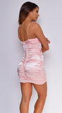 Ardella Light Pink Satin Ruched Dress