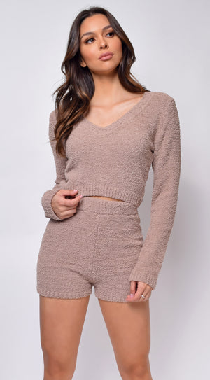Yazmin Taupe Beige Fuzzy V Neck Sweater And Shorts Set