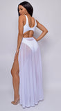 Skyros White Mesh Maxi Wrap Cover-up Skirt