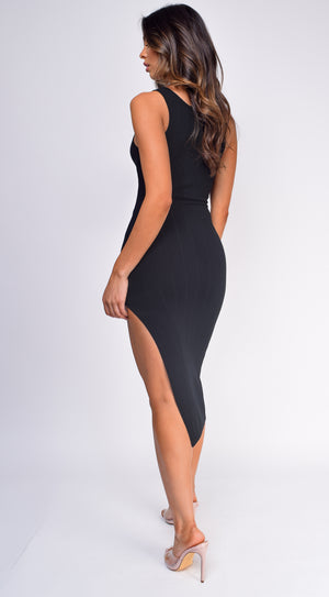 Emma Black Tank Ribbed Waist Tie Slit Dress