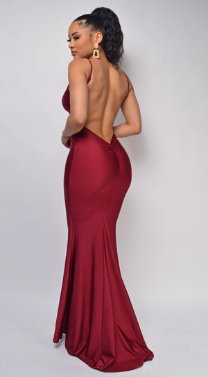 Mavin Burgundy Red V Neck Low Back Gown