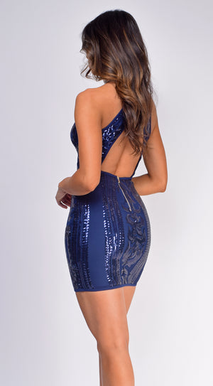 Morgan Navy Blue Sequin Dress