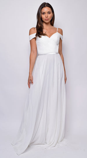 Kinsley Off White Pleated Maxi Dress