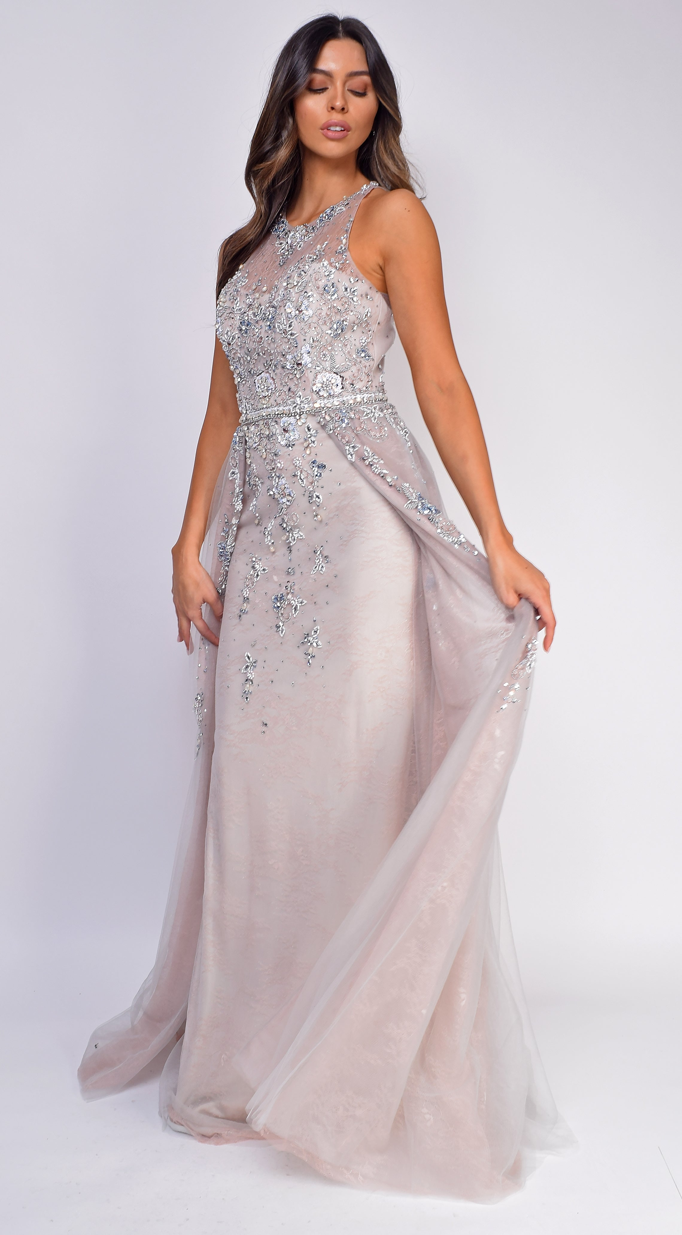 Danna Pink Silver Lace Beaded Flyaway Gown