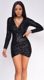 Shania Black Surplice Sequin Dress