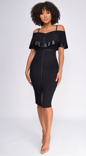 Johari Black Satin Detail Off Shoulder Midi Dress