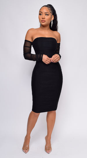 Neta Black Ruched Mesh Sleeve Off Shoulder Bandage Dress