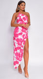 Aida Pink Floral Print High Low Slit Maxi Dress