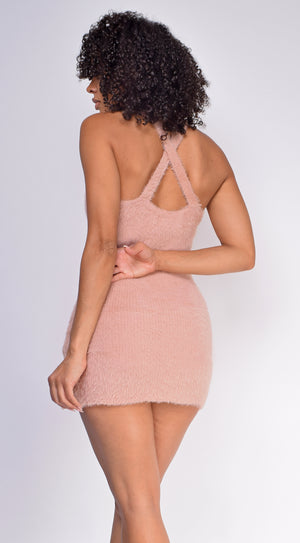 Kishana Dusty Pink Feather Dress