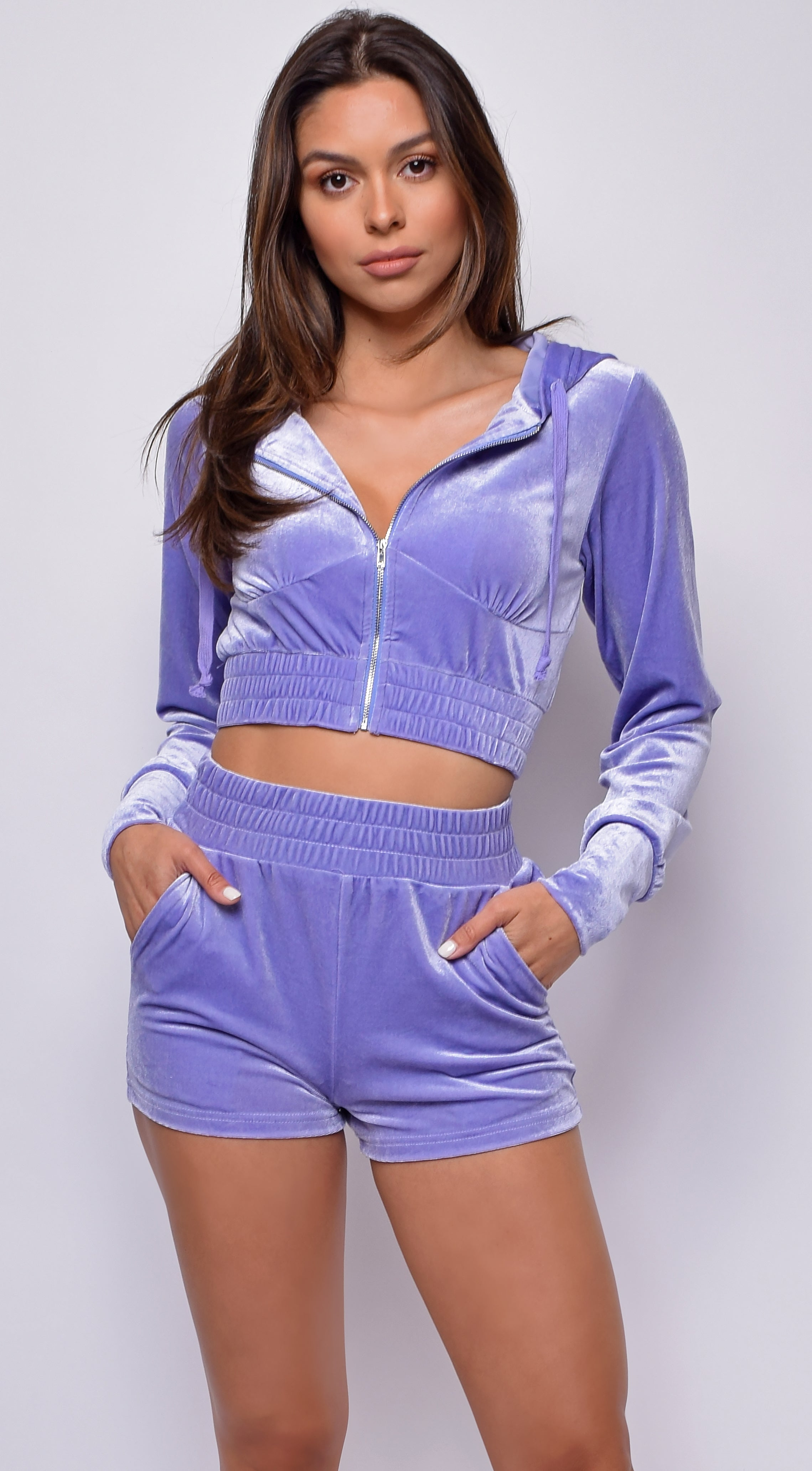 Lounge Around Lavender Purple Velour Crop Hoodie Shorts Set