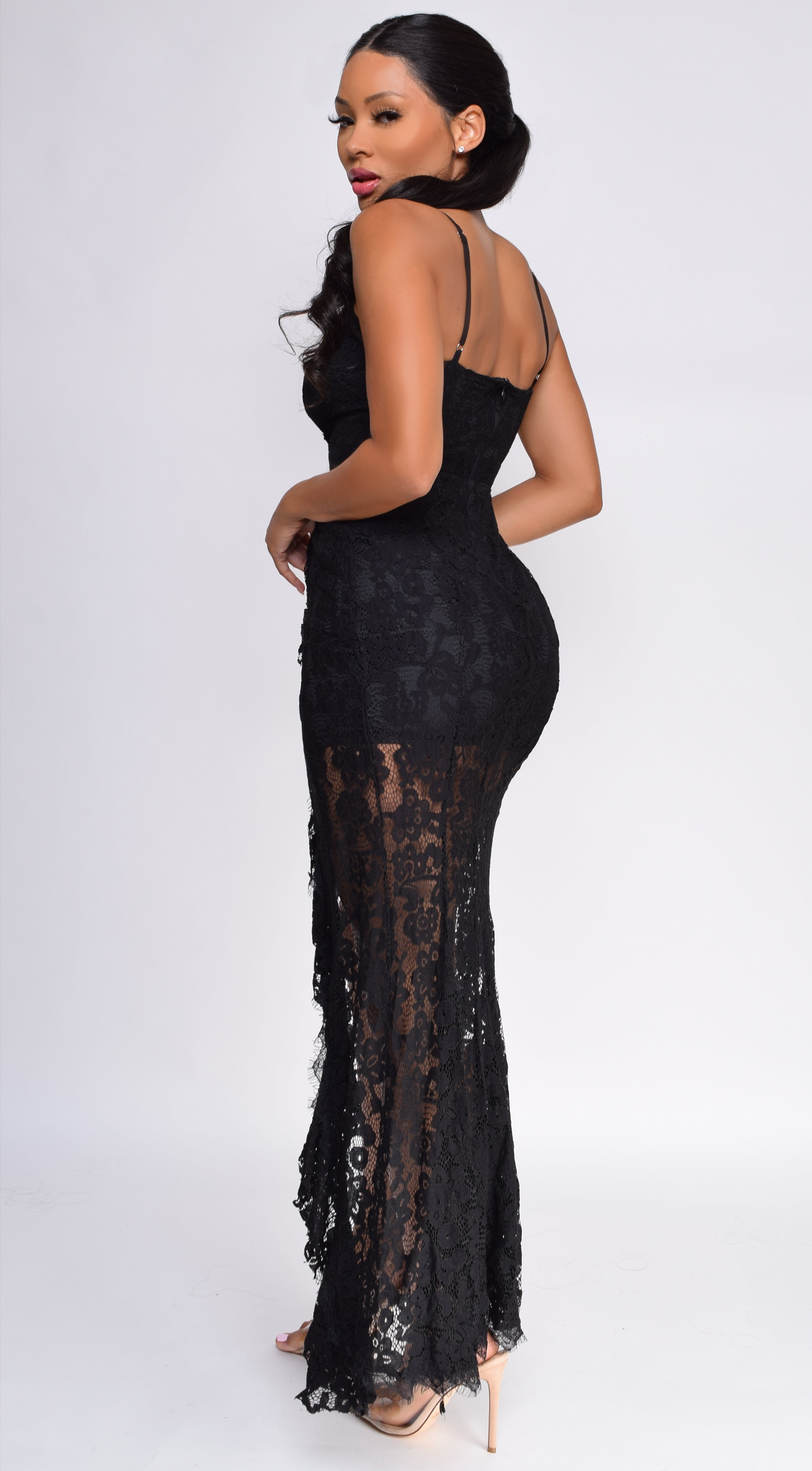 Arsema Black Lace Maxi Dress