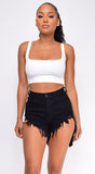 Pamelia Black Shredded Super High Rise Denim Shorts