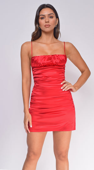 Gemma Red Crinkle Ruched Satin Dress