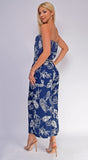 Floral Passion Navy Blue Floral Print Wide Leg Jumpsuit