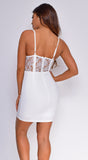 Belakane Off White Scalloped Lace Bustier Dress