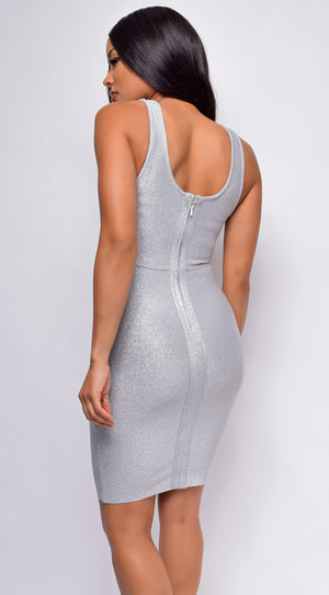 Analisa Silver Sparkle Bandage Dress