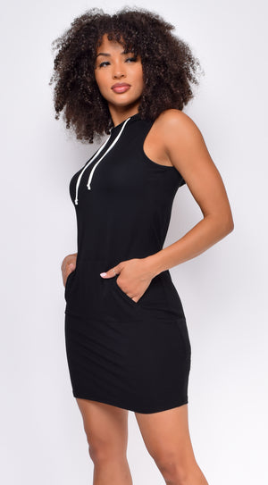 Reva Black Sleeveless Hoodie Dress