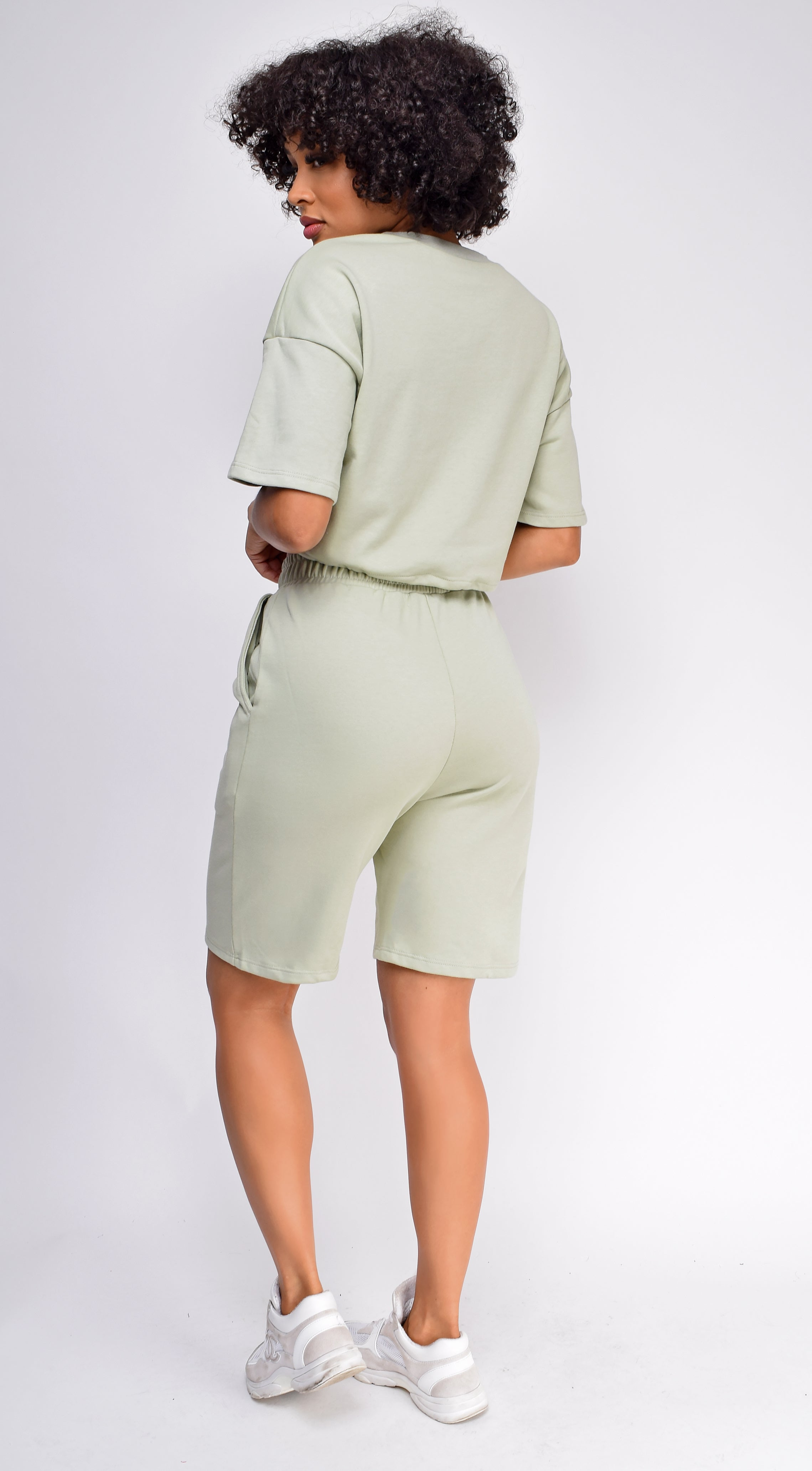 Nia Sage Green Crop Drawstring Top And Short Set