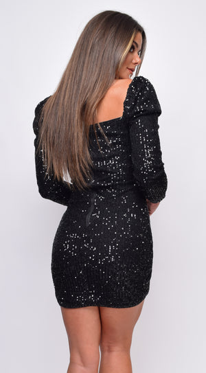 Nila Black Sequin Dress