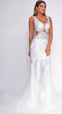 Flynn White Beaded Gown