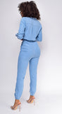 Tiffany blue Two Pocket Drawstring Jogger Jumpsuit