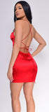 Marlana Red Satin Mini Dress